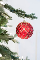 10 CM Red Matte Glitter Quilted Ball Ornament