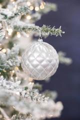 10 CM Silver Matte Glitter Net Ball Ornament