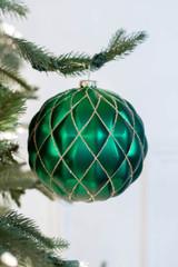15 CM Emerald Green Matte Glitter Quilted Net Ball Christmas Ornament