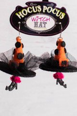 Hocus Pocus Witch Hat Fun Earrings