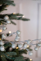 "26"" Beaded Crabapple Christmas Spray - Champagne"