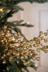 """29"""" Glitter Crabapple Christmas Spray - Gold"""