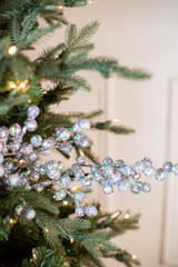 "29"" Glitter Crabapple Christmas Spray - Silver"