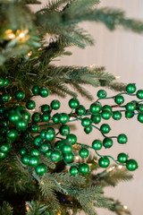 "29"" Metallic Crabapple Christmas Spray - Emerald"