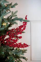 "30"" Glitter Cluster Berry Christmas Spray - Cherry Red"