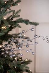 """30"""" Mini Pomegranate Glitter - Matte Silver Platinum Christmas Spray"""