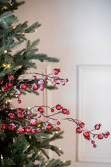 """38"""" Gilded Frosted Crabapple Christmas Spray - Red"""