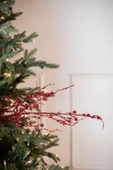"42"" Jeweled Bead Branch - Red Christmas Spray"