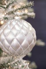 15 CM Silver Matte Glitter Quilted Net Ball Ornament