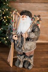 "24"" Polyester Santa W/ Ski & Gift Bag"