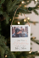 """5"""" Mr & Mrs First Christmas Photo Ornament"""