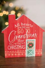 "6"" All Hearts Go To Grandma's For Christmas Wood Decor Block"