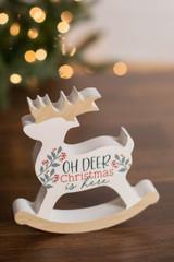"""6"""" Oh Deer Christmas Is Here Wood Decor Block"""