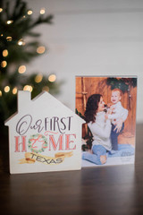 """6"""" Our First Home Texas Picture Frame Decor Block"""