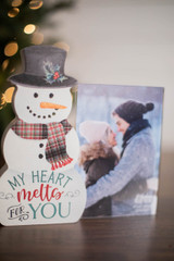 """7.5"""" My Heart Melts For You Picture Frame Decor Block"""