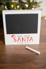 "7"" Chalkboard Santa Countdown Decor Block W/ Chalk"