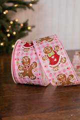 """2.5"""" x 10 Yard Pink Check Gingerbread Ribbon"""