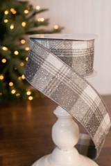 """2.5"""" x 10 Yard Snowflake Plaid Wired Ribbon"""