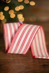 "2.5"" x 10 Yard Red Striped Linen Ribbon"