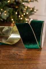 """2.5"""" x 10 Yard Deluxe Emerald Green Velvet Gold Back Ribbon"""
