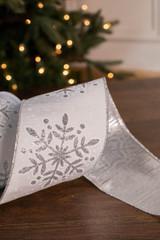 """4"""" x 10 Yard White Glitter Snowflake Silver Back Ribbon"""