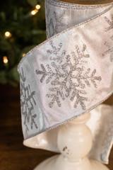"4"" x 10 Yard SIlver Snowflake Glitter Ribbon"