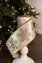 "4"" x 10 Yard Gold Snowflake Glitter Ribbon"