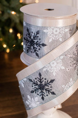 "4"" x 10 Yard Snowflake Lame On Dupioni Ribbon"