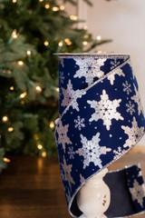 "4"" x 10 Yard Snowflake On Blue Velvet Ribbon"