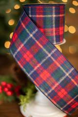 "4"" x 10 Yard Red and Navy Wool Check Plaid Ribbon"