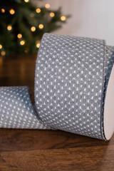 "4"" x 10 Yard Gray Woven Dot Knitted Ribbon"