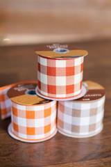"2.5"" x 3 Yard Harvest Plaid Fall Ribbon Orange"