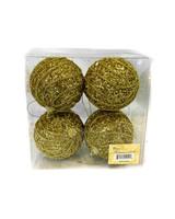 "3.5"" Gold Roped Glitter Ball Ornament - Set Of 4"