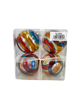 """3"""" Multi Colored Clear Shatterproof Ornaments - Set Of 4"""