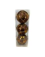 "4"" Chocolate Gold Glitter Ball Ornament - Set Of 3"