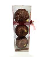 "4"" Coffee Glitter Ball Ornament - Set Of 3"
