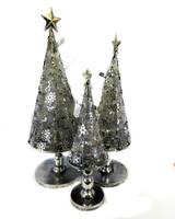 Lighted Metal Christmas Trees - Set Of 3