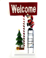 """32"""" Lighted Welcome Sign W/ Santa Painting On Ladder"""