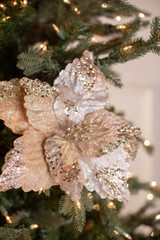"""19"""" Sequin Glitter Sheer Poinsettia Stem"""