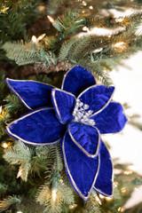 """22"""" Blue/Silver Velvet Poinsettia Stem"""