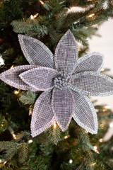 "22"" Grey Linen Jewel Poinsettia Stem"