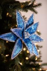 """22"""" Light Blue Velvet Glitter Poinsettia Stem"""