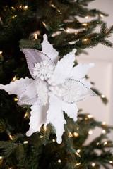 """22"""" Snowflake Velvet Poinsettia Stem"""