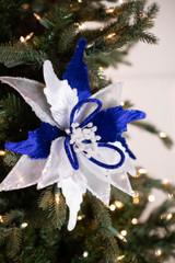 """22"""" Velvet Sheer Glitter Poinsettia Stem - Blue/White"""