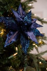 """23"""" Navy Velvet Glitter Trim Poinsettia Stem"""