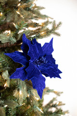 """22"""" Royal Blue Velvet Poinsettia Pick"""