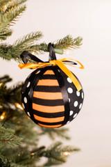 "4"" Polkadot Stripe Halloween Ribbon Ball Ornament"