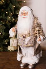 "18"" Standing Santa Silver Gold W/ Eiffel Tower/Presents"