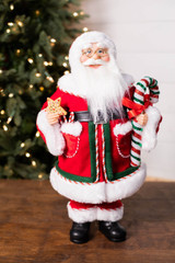 """18"""" Standing Santa Red Coat W/ Cookie/Candy Cane"""