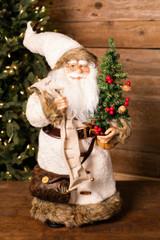 "24"" Standing Santa White Wool Coat/List"